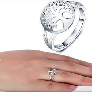 Tree of life sterling silver 925 good luck ring